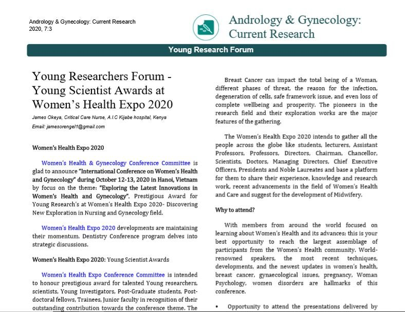 Young Researchers Forum - Young Scientist Awards at Women's Health Expo 2020