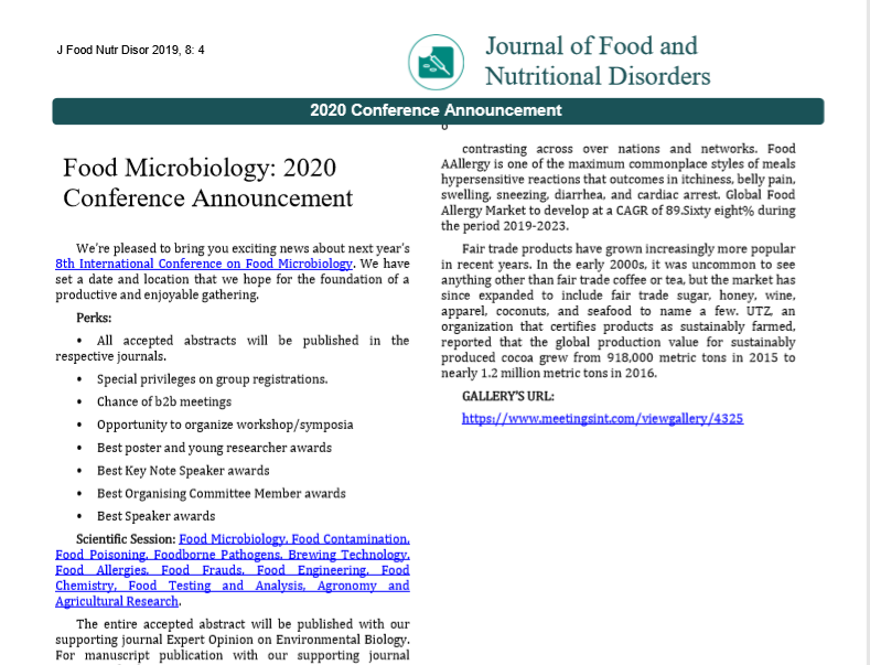 Food Microbiology: 2020 Conference Announcement